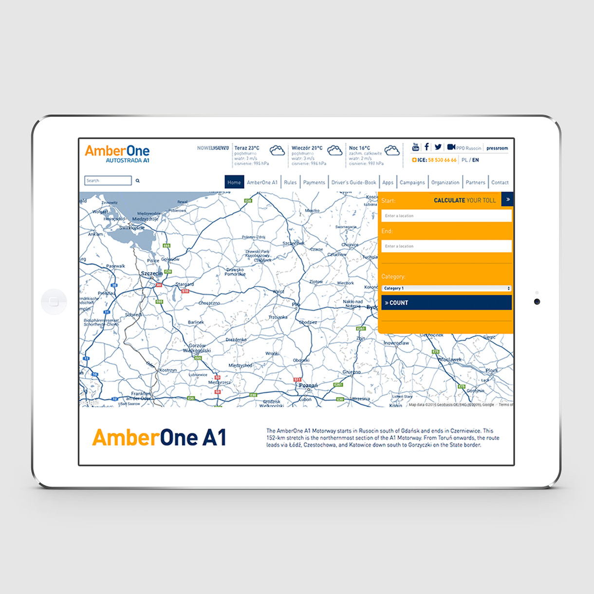 Amber One - Map on site