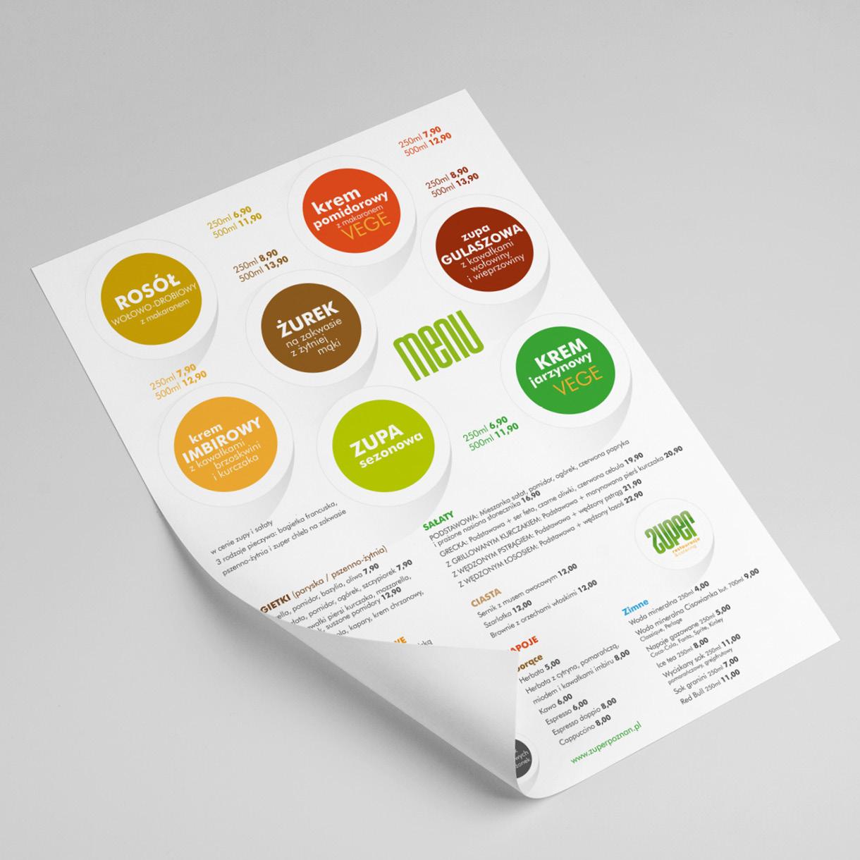 zuper - menu card